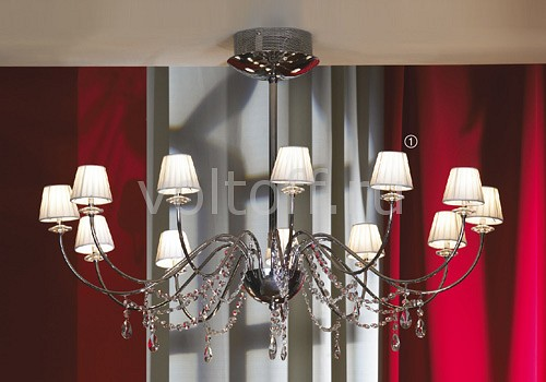 Люстра на штанге LussoleХрустальные светильники<br>Артикул - LSQ-5703-12,Серия - Frascati<br>