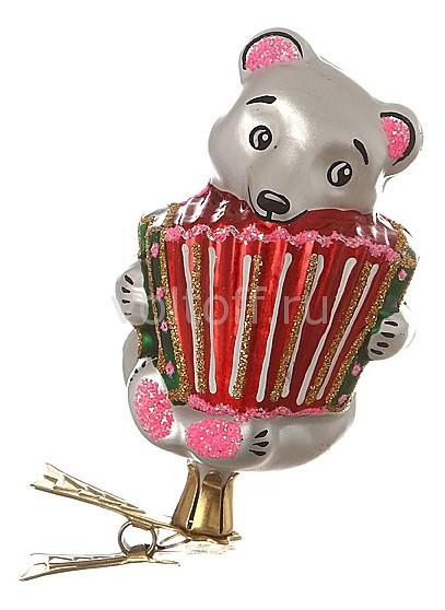 Елочная игрушка АРТИ-М (8.5 см) Мишка с гармошкой 860-102