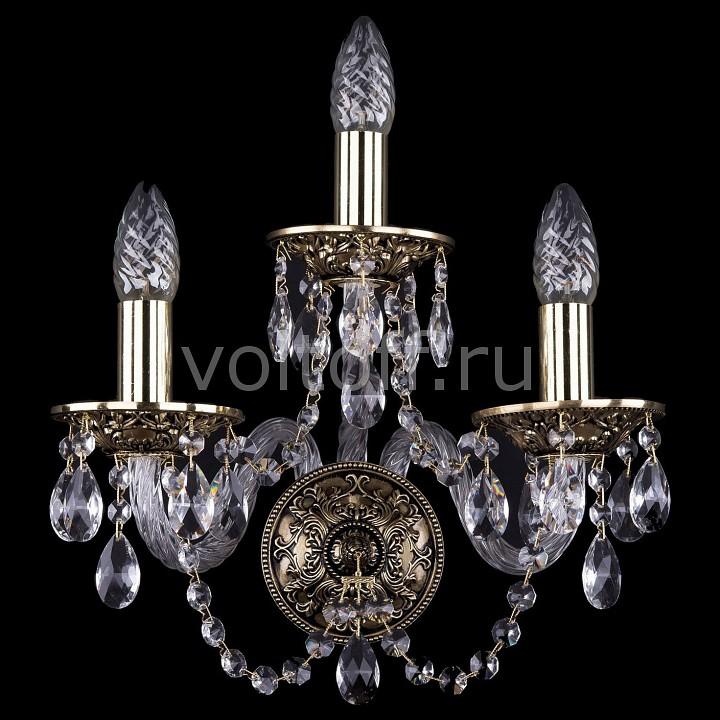 Бра Bohemia Ivele Crystal 1610/3/GB бра bohemia ivele 1610 gold black 1610 1 gb